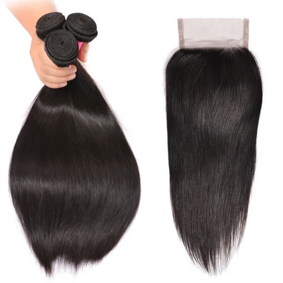 BHF Hair 100% Remy Hair Bundles With Closure Straight Brazilian Virgin Hair 4 Pcs/Lot Natural Black