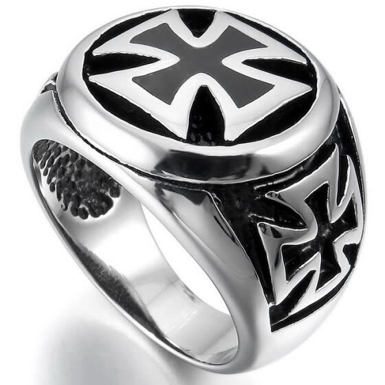 Hpolw Men's Large Stainless Steel Ring Silver Black Cross Vintage