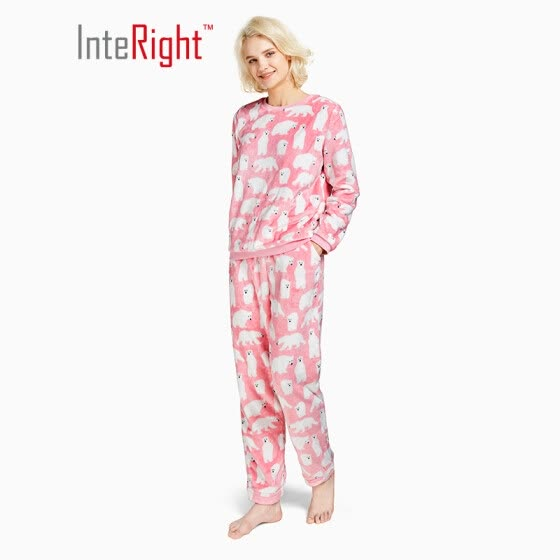 INTERIGHT pajamas women s autumn and winter flannel warm pajamas home  service suit cute bear pattern red ee15cc540