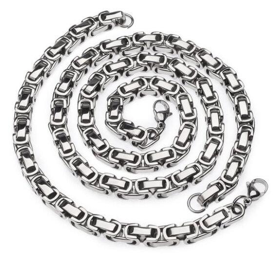 Punk Fashion Stainless Steel Men Women Byzantine Box Chain Necklace Bracelet Set