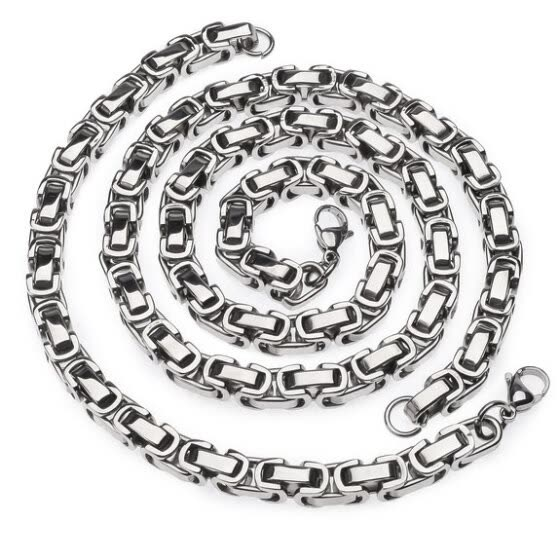 Hpolw Jewelry Men's Byzantine Chain Bracelet and Necklace Sets,stainless Steel