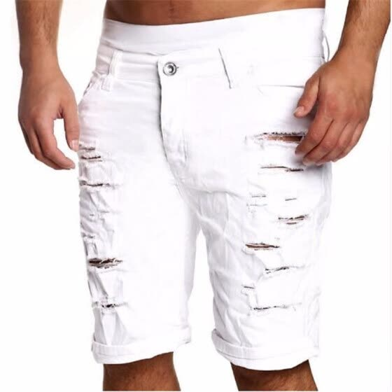 1f0bb4c4558 Fashion Ripped Hole Denim Shorts Men Black White Slim Skinny Straight Casual  Jeans Shorts Men Vintage