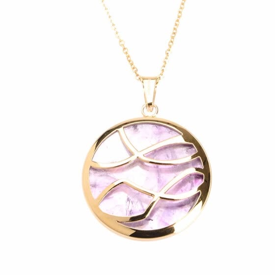 Round  Simple Lines Purple Quartz Crystal Pendant Stainless Steel Necklaces 17""