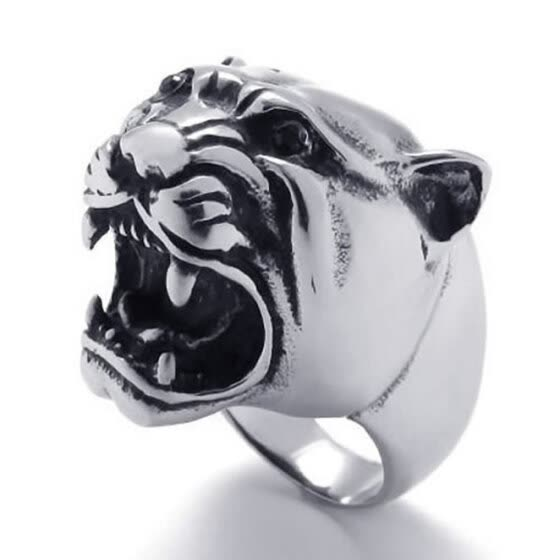 Hpolw men Vintage popular silver&black Stainless Steel Tiger head charm Ring,Width:24mm