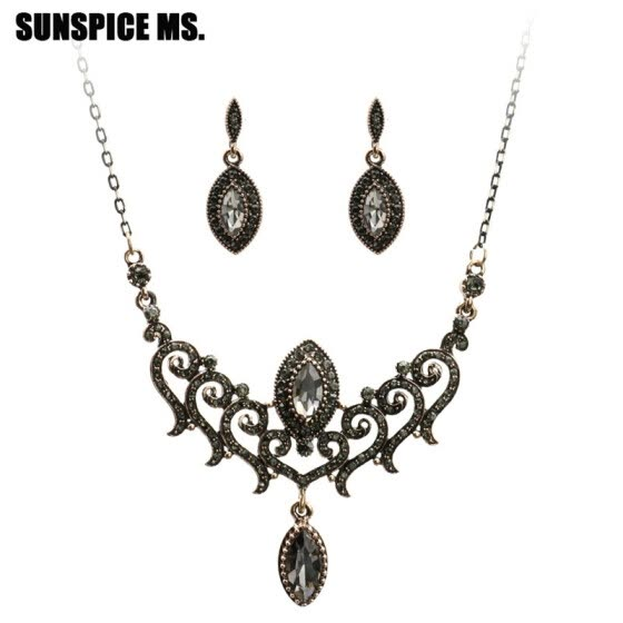 Shop Bohemia Gray Crystal Vintage Jewelry Sets For Women Dangle