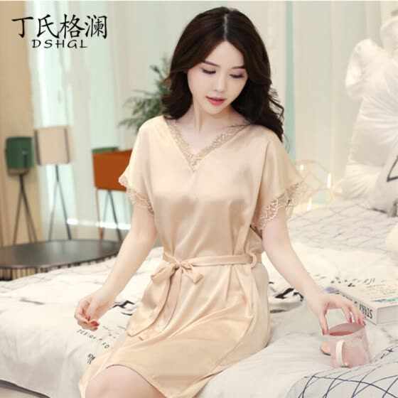 4de595a7be5 Ding s grate pajamas women s nightdress female summer solid color set of ice  silk sexy temptation sexy
