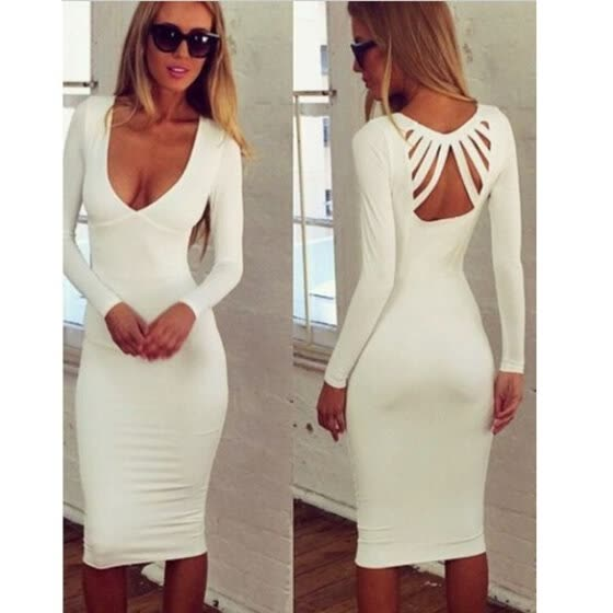 European American Stylish Lady Women's New Fashion Sexy Slim Long Sleeve Back Hollow V-Neck Dress