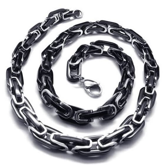 Jewelry Mens Black Silver  Stainless Steel Biker Chain Necklace Lobster Clasps Link