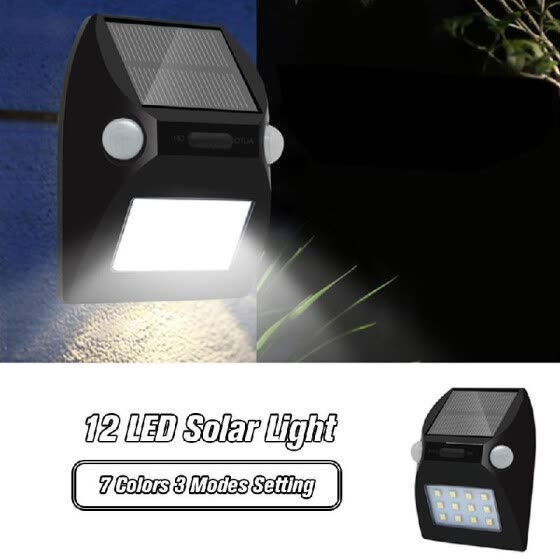 12 LED Solar Light with Wide Lighting Area Outdoor Dual-Headed Motion Sensor Waterproof Security Wall Light with 7 Colors 3 Modes