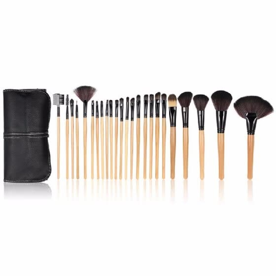 Wood 24Pcs Makeup Brushes Kit Professional Cosmetic Make Up Set + Pouch Bag Case Black   H10074