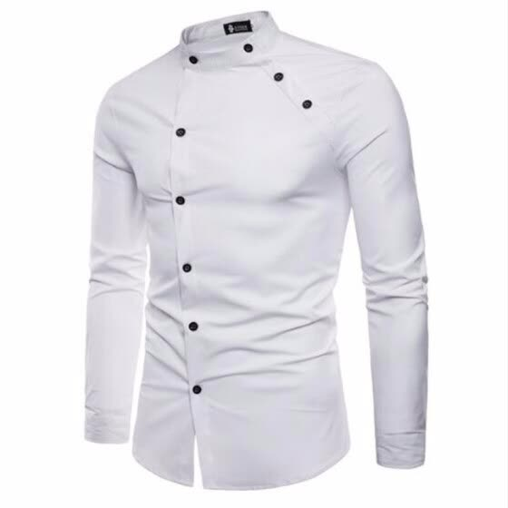 abcf96d0d8dd6 2018 New Hot Sale Fashion cutting Double threshold Style Comfortable Casual  Stand collar Men's Shirt Tops
