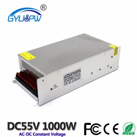 Switching Power Supply DC 55V 18.2A 1000W Driver Transformers 220V 110V AC DC55V SMPS for CNC Machine Router Stepper Motor Light