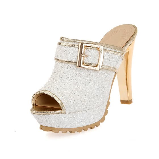 IDIFU Women's Trendy Peep Toe Sequined Sandals - Glitter Buckled Belt Platform - Slide on Chunky High Heels Clogs Shoes