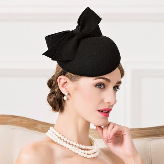 67ac2b648 Shop Lady Fedoras Woolen Hat Vintage Black Wool Pillbox Hat Wedding ...