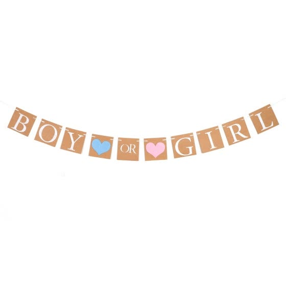 Baby Shower Decorations Boy Girl Banner Gold Glitter Gender Reveal Bunting Flag Baby Gender Show Party