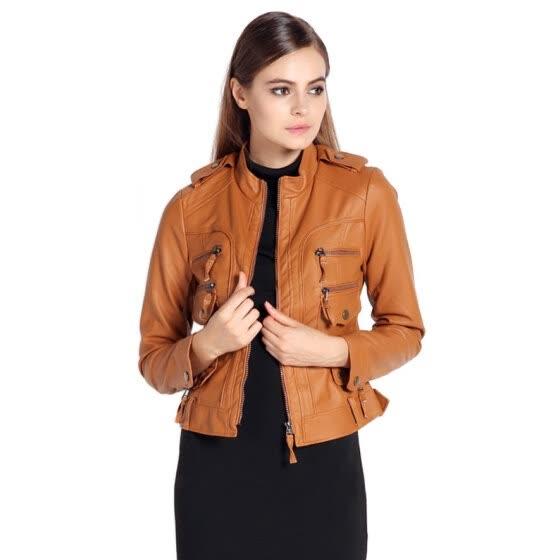 Motorcycle Faux Leather Jacket Women Jackets Ladies Coat Outerwear