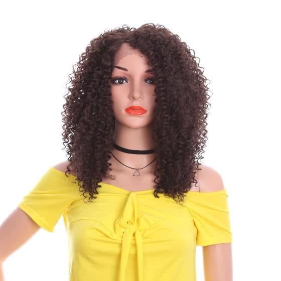 YYONG Kanekalon Long Afro Kinky Curly Weave Medium Brown Synthetic Hair Wigs For Women #4 Color Lace Wigs