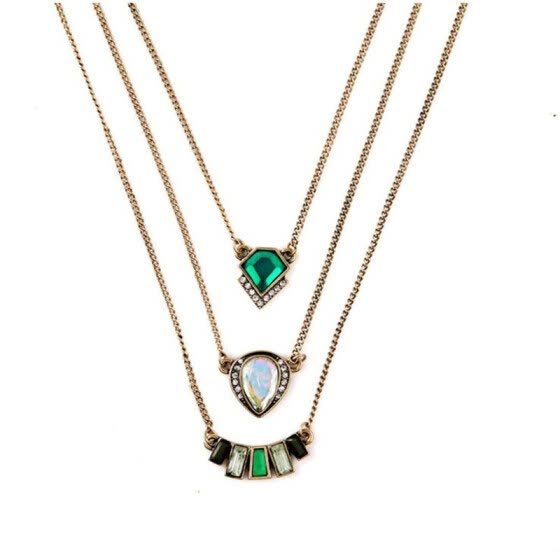 Aiyaya Vintage Style 3 Level Black Crystal Emerald Waterdrop Square Pendant Necklace Chain