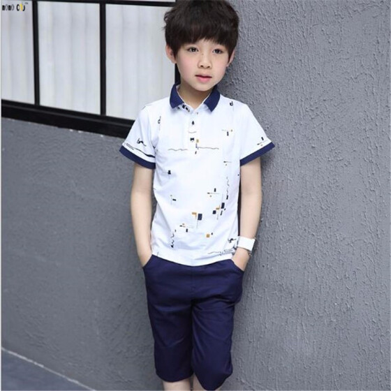Willsa Baby Boy Outfits Kids Short Sleeve Star Cartoon Printed Tracksuit Clothes Set