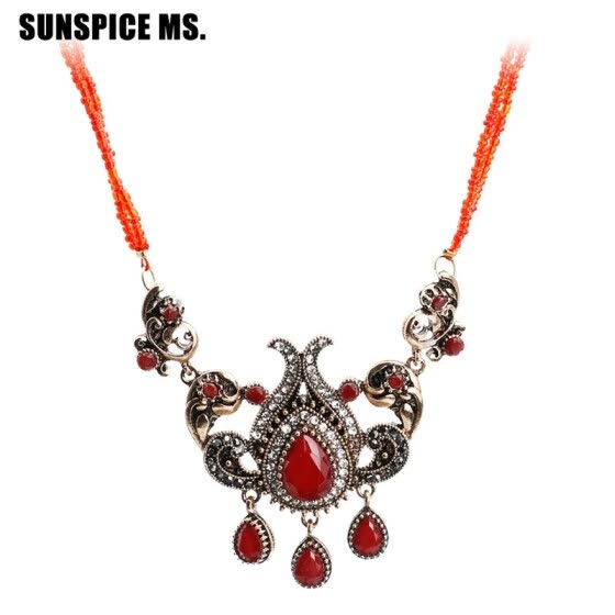 Bohemia Long Bead Pendant Necklace For Women Antique Gold Color Resin Sweater Chain Turkish Vintage Flower Jewelry Gift 2018 New