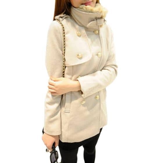 246fb32f3ec CT HF Женщины Мода Досуг пальто утолщение Pure Color шерстяные пальто  корейских женщин темперамент элегантный двубортный пиджак