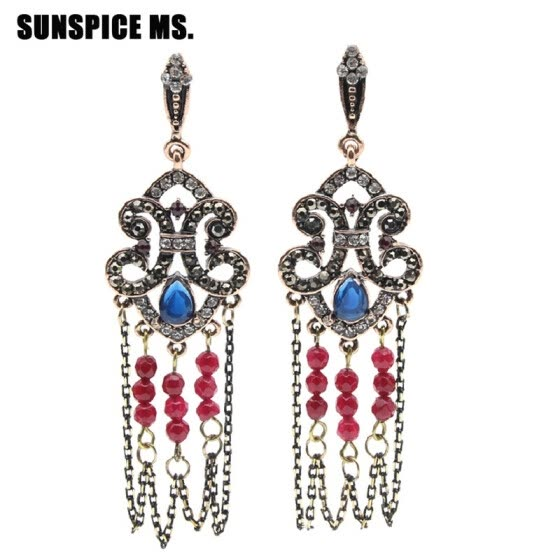 SUNSPICE MS Bohemia Tassels Earrings Retro Vintage Handmade Bead Jewelry Antique Gold Color Hook Dangle Earrings Stage Bijoux