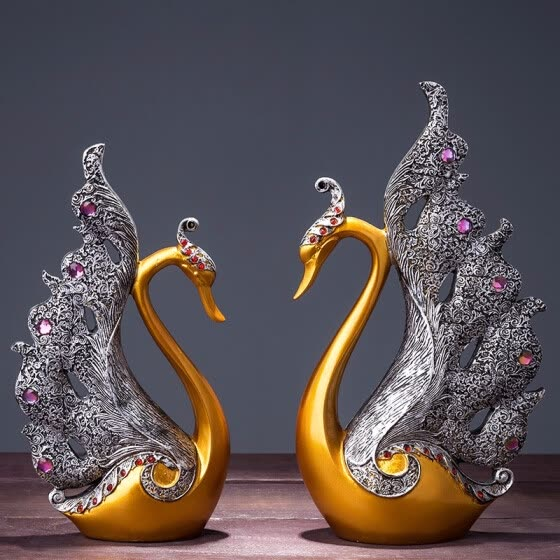 European Retro Resin Couple Swan Decorative Ornaments Living Room Porch Interior Furniture Display Wedding Birthday Gift