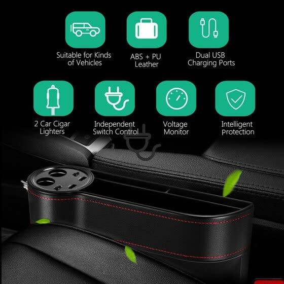 ZEEPIN C15 Multi-use Car Seat Gap Storage Box Voltage Display 2 Cigar  Lighters 94388148e23b