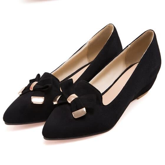 7deb7a24 IIDIFU Zapatos cómodos con tacón de cuña y punta en punta para mujer de  IIDIFU Zapatos