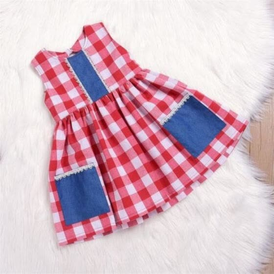 1-6T Toddler Kids Baby Girl Cotton Dresses Plaid & Checked Pocket Vintage Dress
