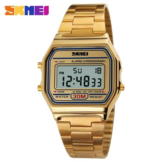 SKMEI Mens Fashionable Casual LED Watch Man Digital Wrist Watch Stainless Steel 30 m Waterproof Men