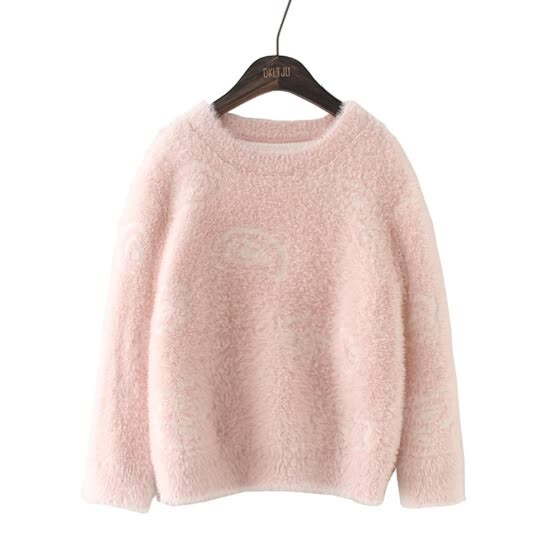 4-14 Years Old Girls Long Sleeve O-Neck Pink Elegant Fluffy Short Pullover Sweaters Dressy Deep Fall Winter Tops Kids Clothes