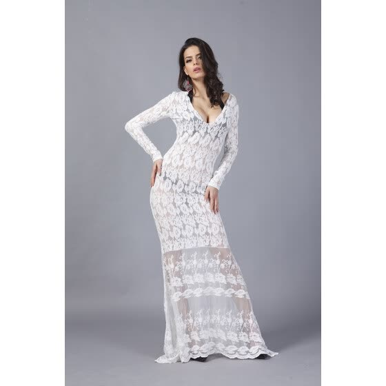 Buenos Ninos Long Sleeve Lace Sexy Long Dress Flowers Hollow Out