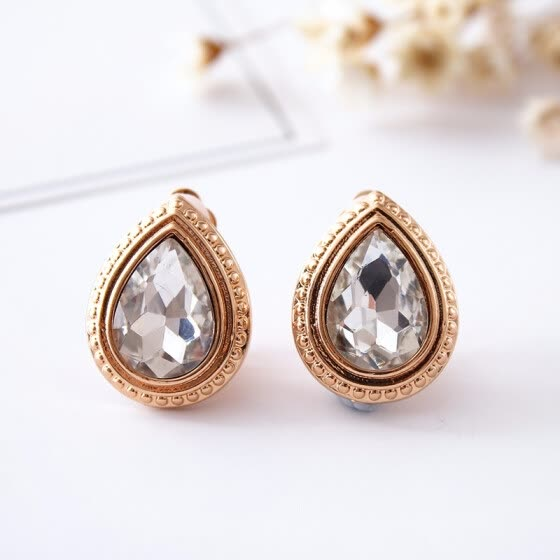 South Korea fashion collocation ear clip water rose gold glass jewelry special store