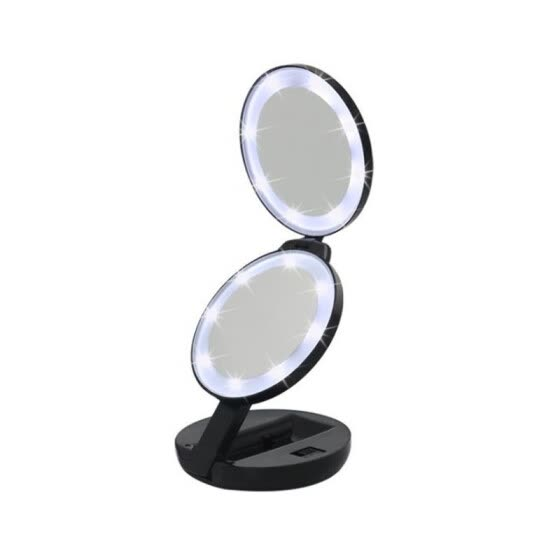 JIPUSH Circular three-fold LED makeup mirror double-side light mirror with magnifier portable mirror creative makeup light mirror