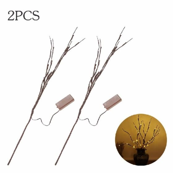 20 LED Light Twig Willow Branches Design Battery Powered Operated Flexible Bendable IP44 Water Resistance Wam White Portable 6 Pac