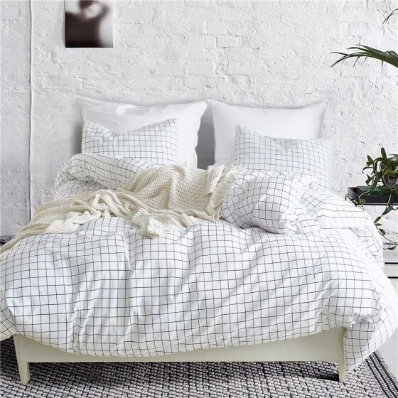 Nordic Lattice Bedding Set Bed Linen Simple Fashion Stripe White Bed Sheet Duvet Cover Sets 3Pcs Home Textile US UK Size