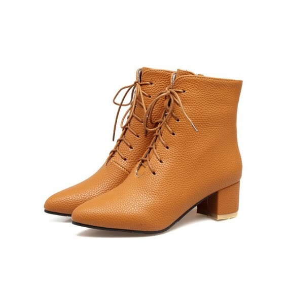 a0e92c9d0e70 IDIFU Women s Sexy Pointed Toe Medium Block Heel Ankle Booties Lace up Short  Boots