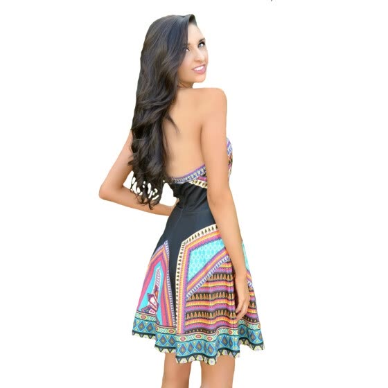 Buenos Ninos Women Wrapped Chest Collect Waist Middle-skirt Large Size Dress