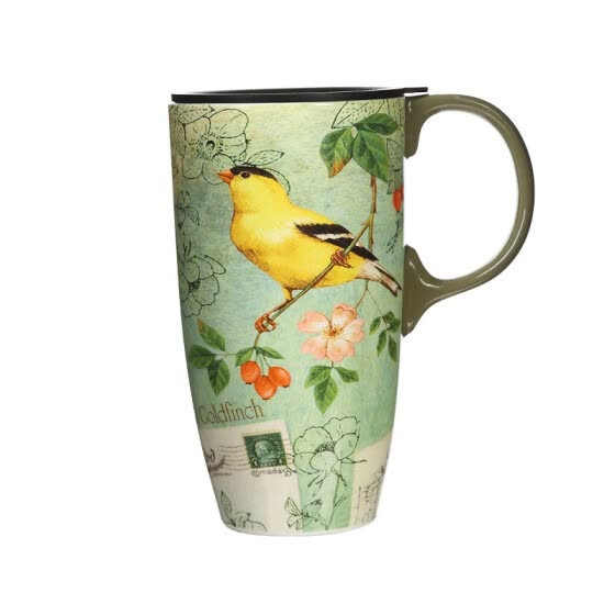 Travel Coffee Ceramic Mug Porcelain Latte Tea Cup With Lid in Gift Box 17oz. Yellow Song Bird