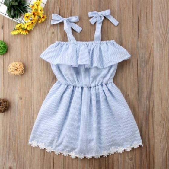 a78a5443156 Canis Kids Baby Girls Lace Flower Striped Romper Bodysuit Dress Sundress  1-6Y