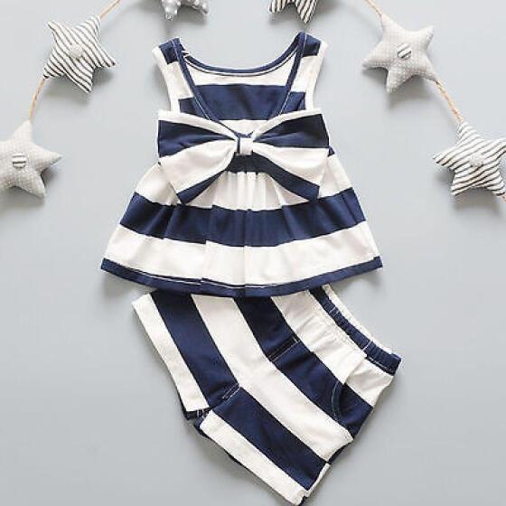 Newborn Baby Kids Girl Bowtie Tank Top Dress+Shorts Pants 2PCS Outfit Clothes