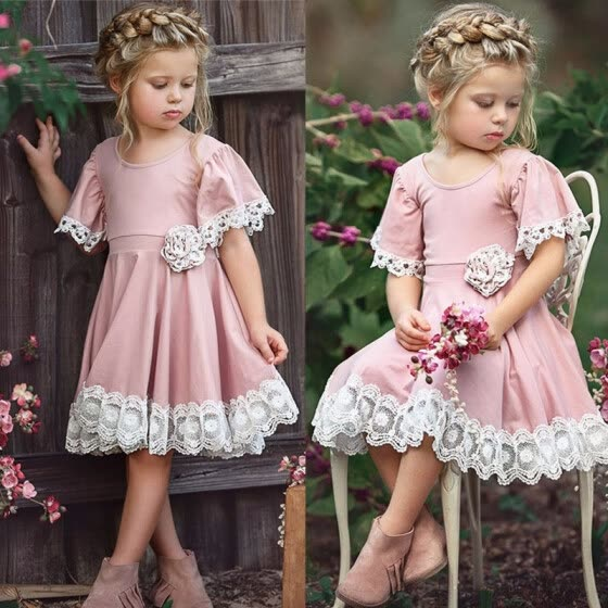 Baby Girls Dresses Princess Lacework Flare Sleeve Flower Elegant Dress Pure Cotton Kids Clothes For 1 2 3 4 5 6 7 Years