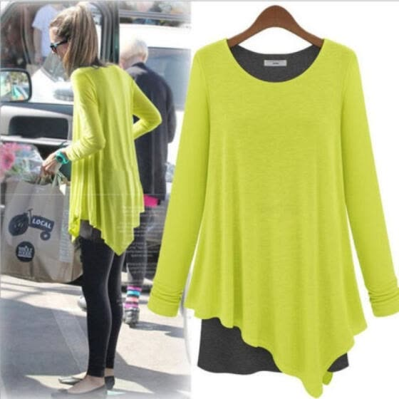Womens Stretch Tops Long Sleeve Cotton Tunics Fashion Tee Shirt Loose Blouses