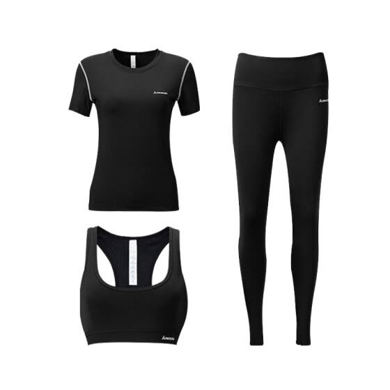 Kawasaki (KAWASAKI) fitness clothing tights female sports suits badminton running season quick-drying short-sleeved training morning running shorts three-piece S