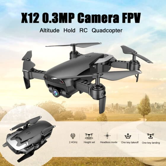 Dongmingtuo X12 720P Wide Angle Camera WiFi FPV Drone Altitude Hold RC Quadcopter w/ Three Batteries