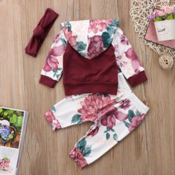 d4f638d7cf1e Shop 3PCS Newborn Baby Girls Kids Hooded Tops Shirt+Long Pants ...