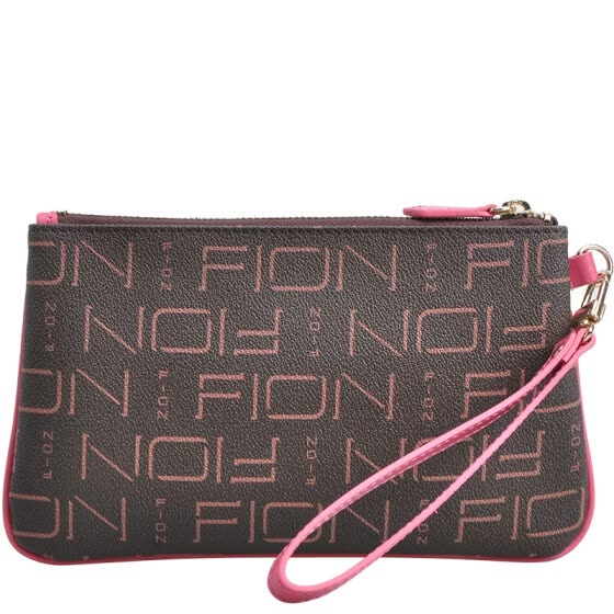 FION (FION) new zipper wallet PVC printing retro female handbag mini wrist bag hand bag WPLL / BT001 brown / light pink