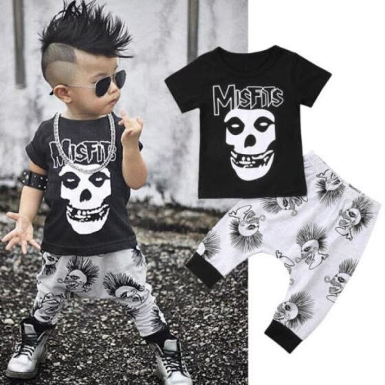 Skull Toddler Baby Kids Boys Clothes Set T-shirt Tops +Long Pants Summer Outfits
