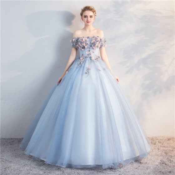 edb4fa4201 2018 New The Elegant Quinceanera Dresses Short Sleeve Off The Shoulder  Classic Stereo Flower Ball Gown